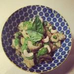 """Zucchini """"Pasta"""" with Pesto Chicken and Mushrooms"""