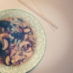 Warming shiitake and chicken broth with bok choy and miso